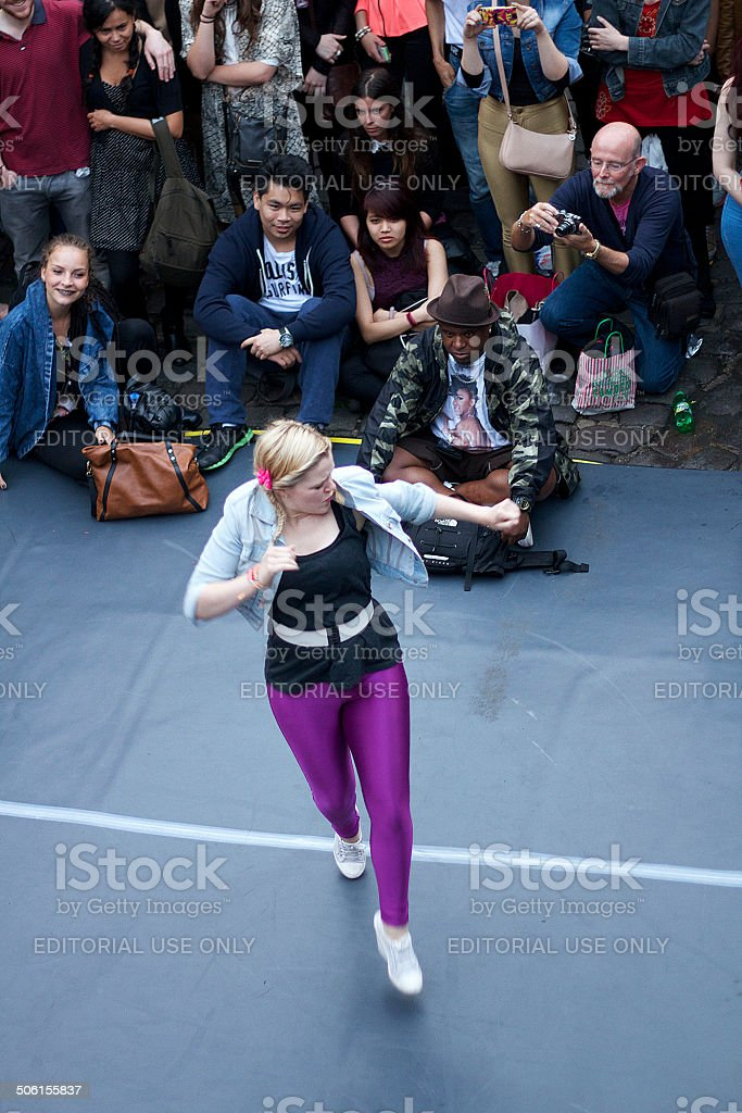 Young Lady Dancing in Camden London stock photo