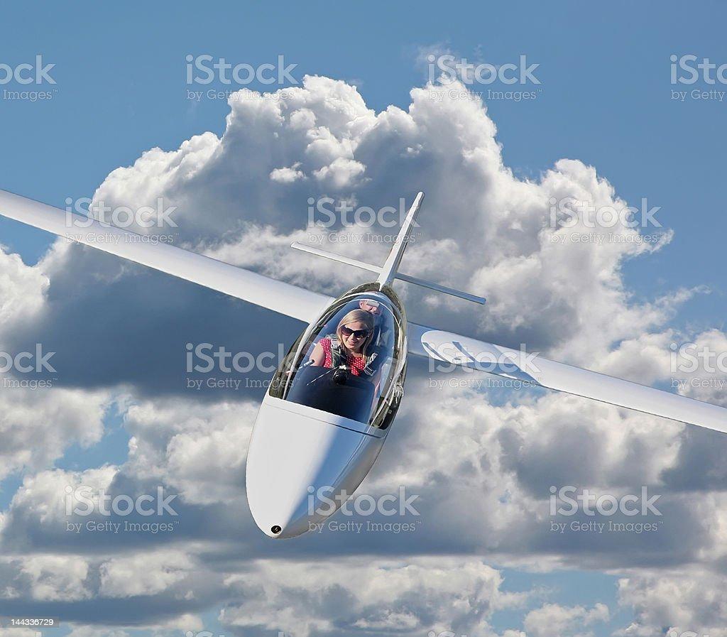 Young lady enjoying soaring stock photo