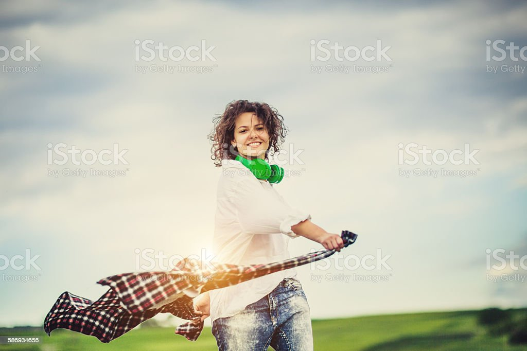 Young lady feeeling free stock photo