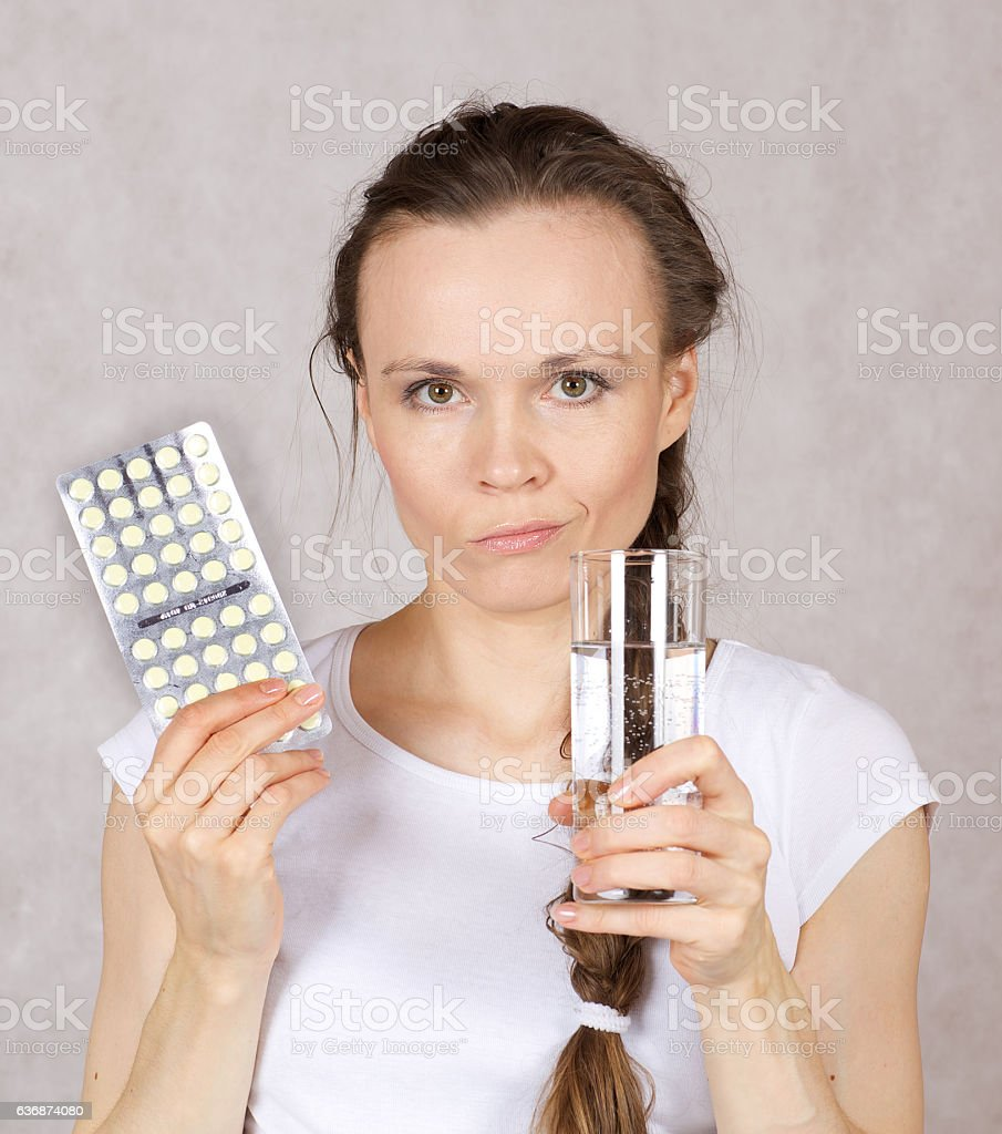 Young lady has a pain stock photo