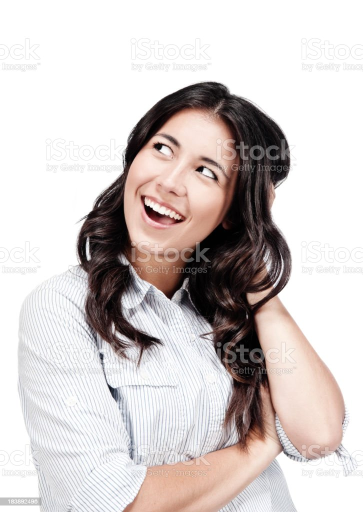 Young lady head scratching stock photo