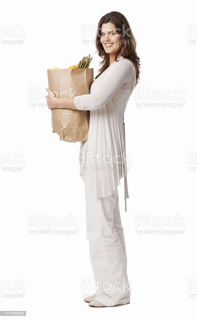 Young Lady Holding Bag Of Groceries - Isolated royalty-free stock photo