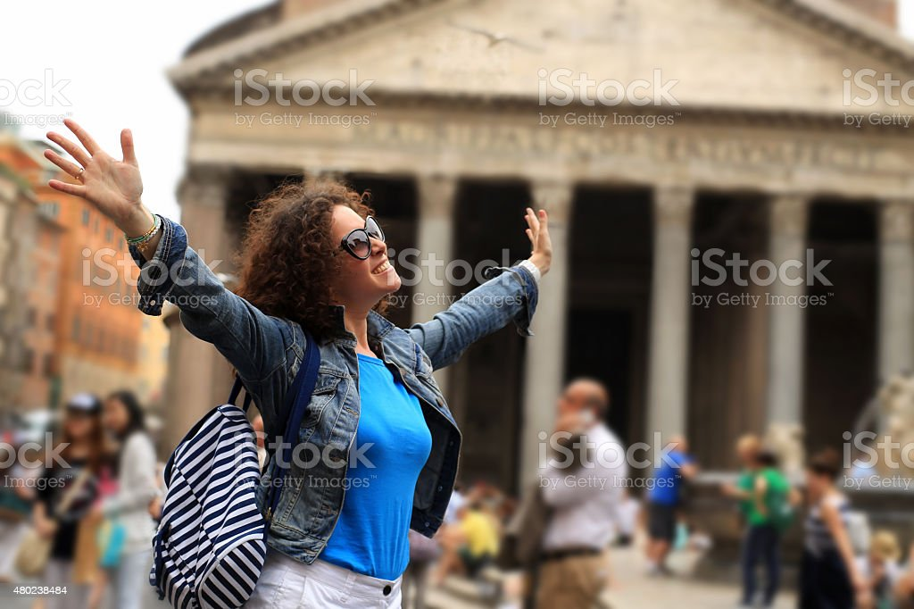 Young lady in Rome stock photo