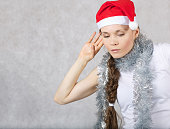 Young lady in Santas hat