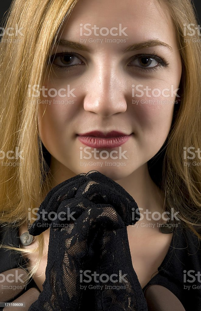 young lady is praying royalty-free stock photo