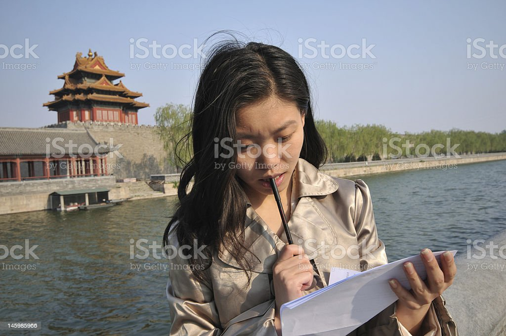 young lady is thinking royalty-free stock photo
