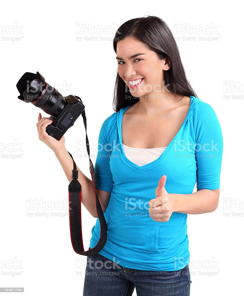 Young Lady Photographer had a Successful Photo Shoot royalty-free stock photo