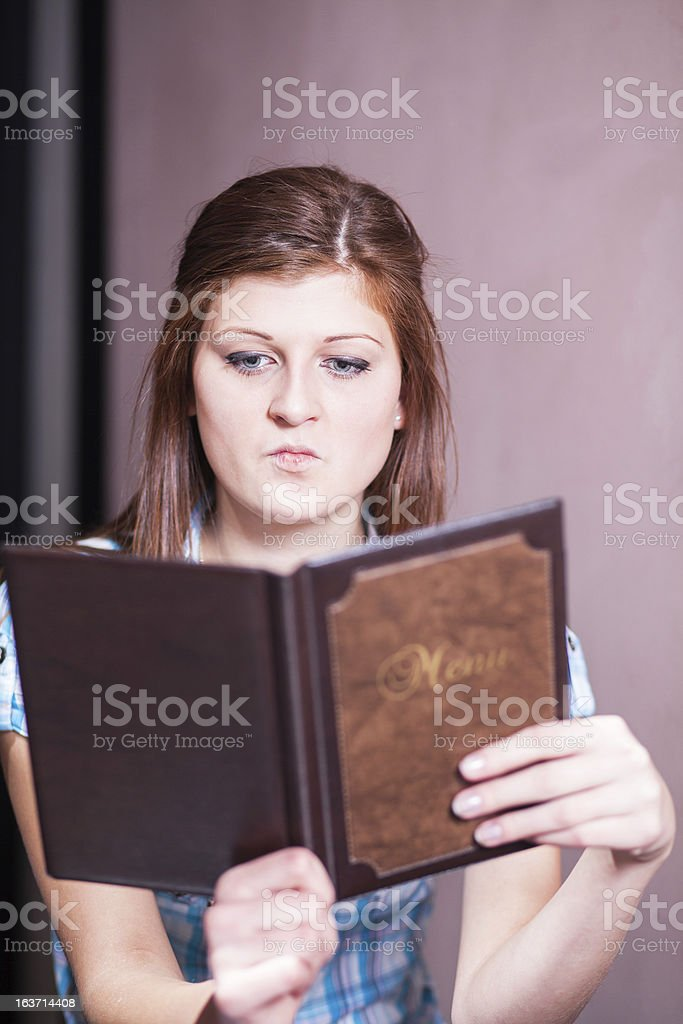 young lady ready to order royalty-free stock photo