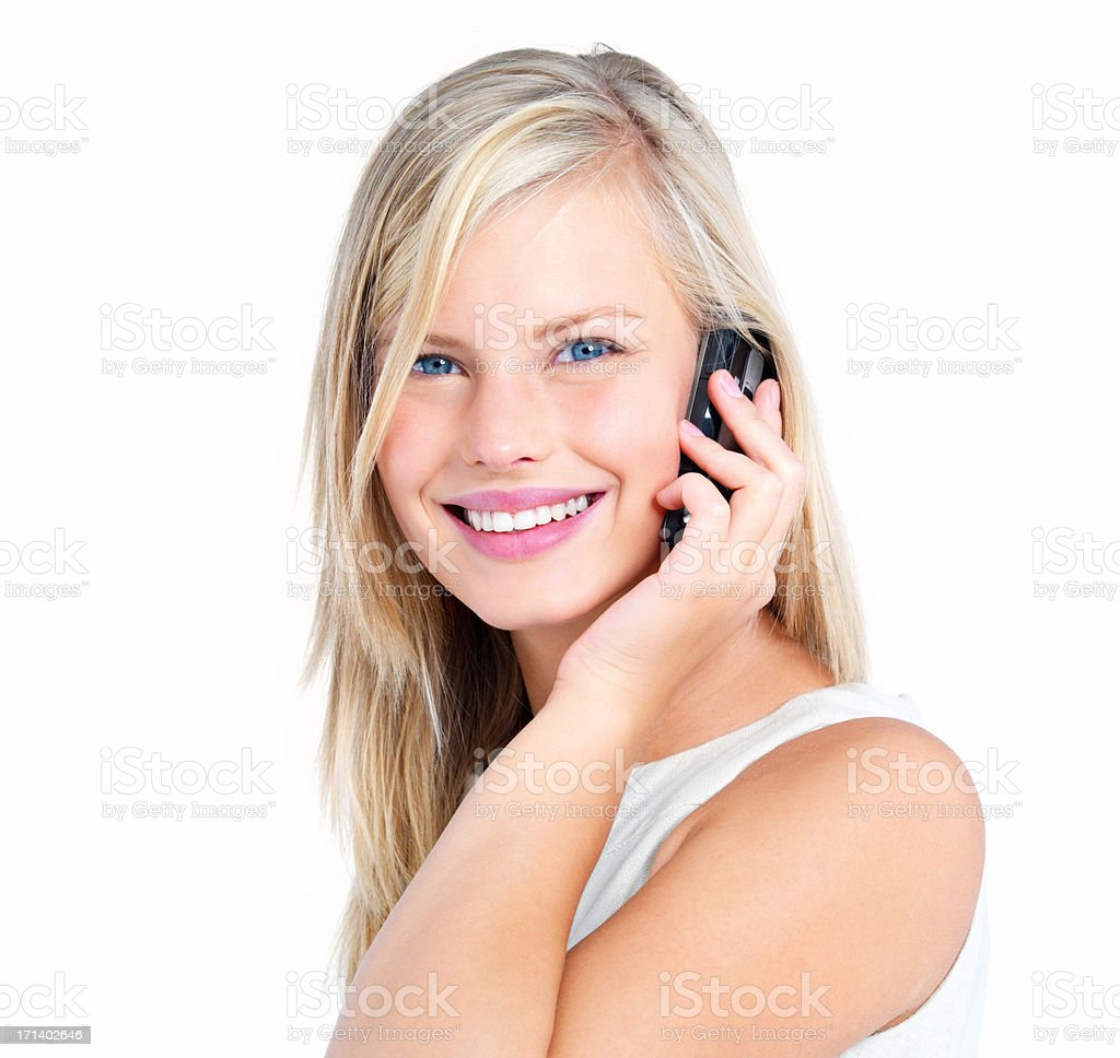 Young lady using cellphone isolated on white stock photo