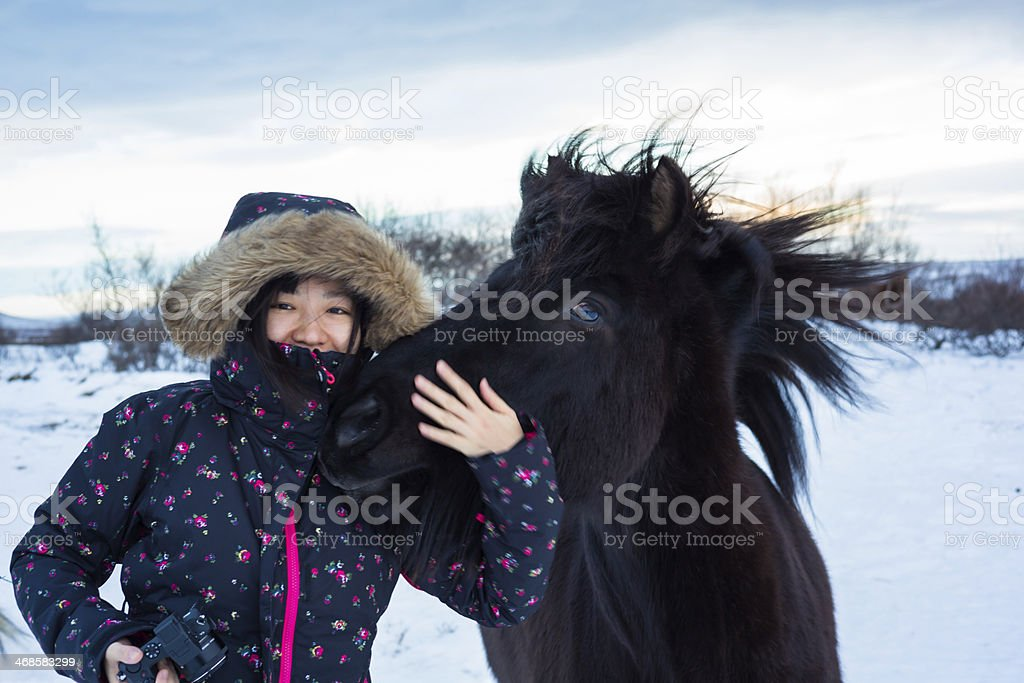Young Lady with a black Icelandic horse stock photo