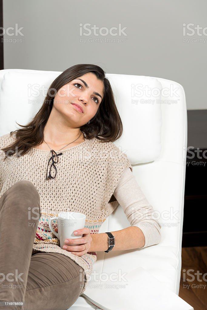 Young lady with a cup of coffee royalty-free stock photo