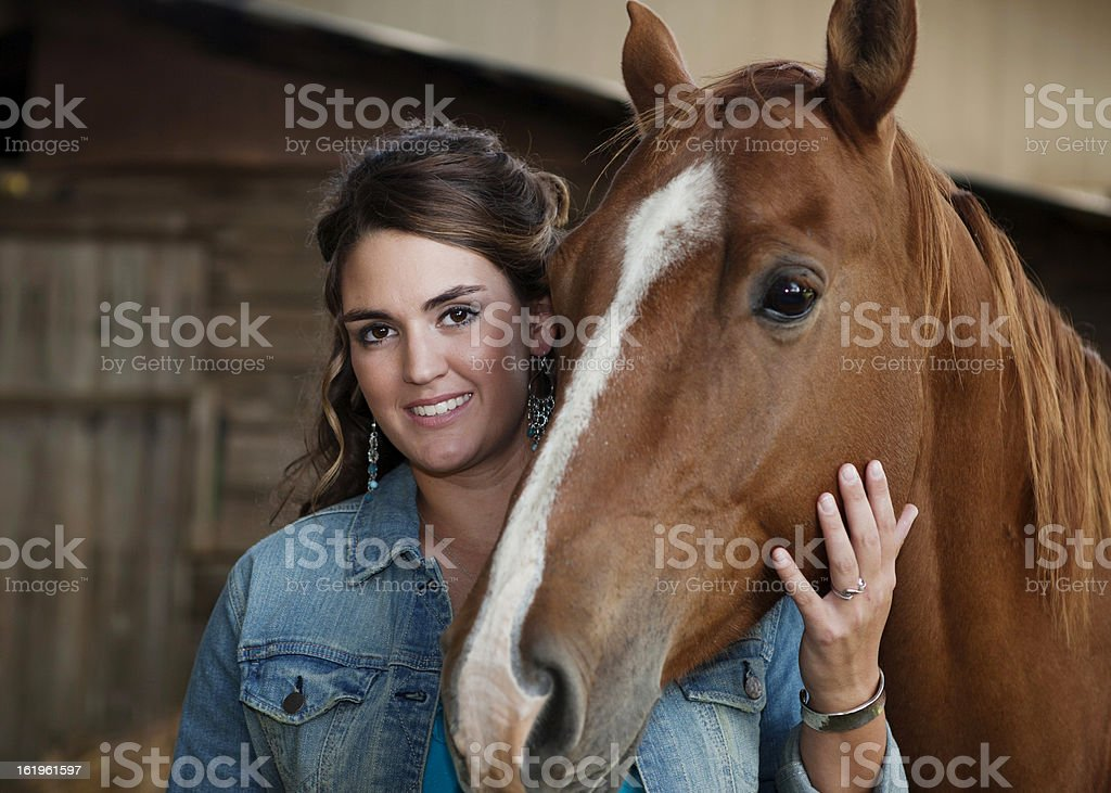 Young Lady with a Horse stock photo