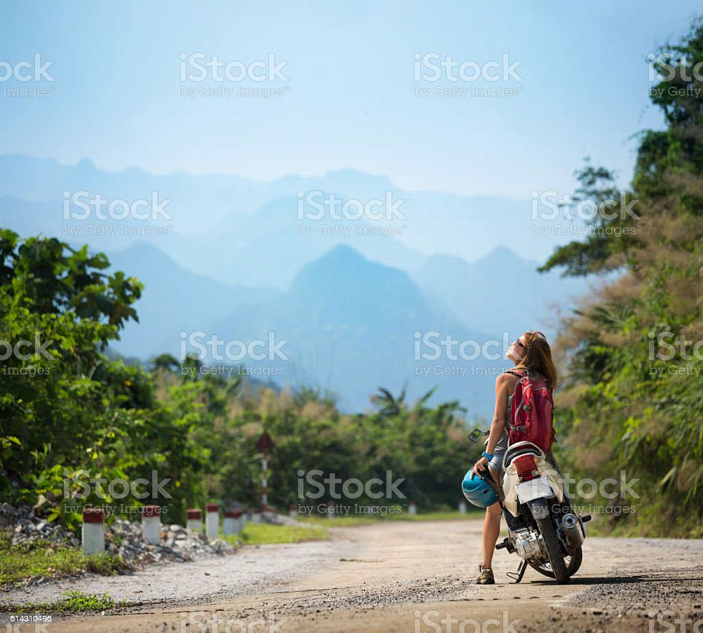 Young lady with bike stock photo