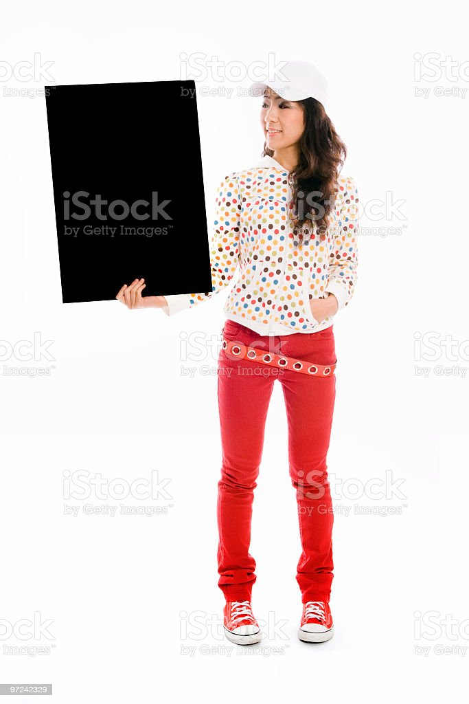 Young lady with blackboard royalty-free stock photo