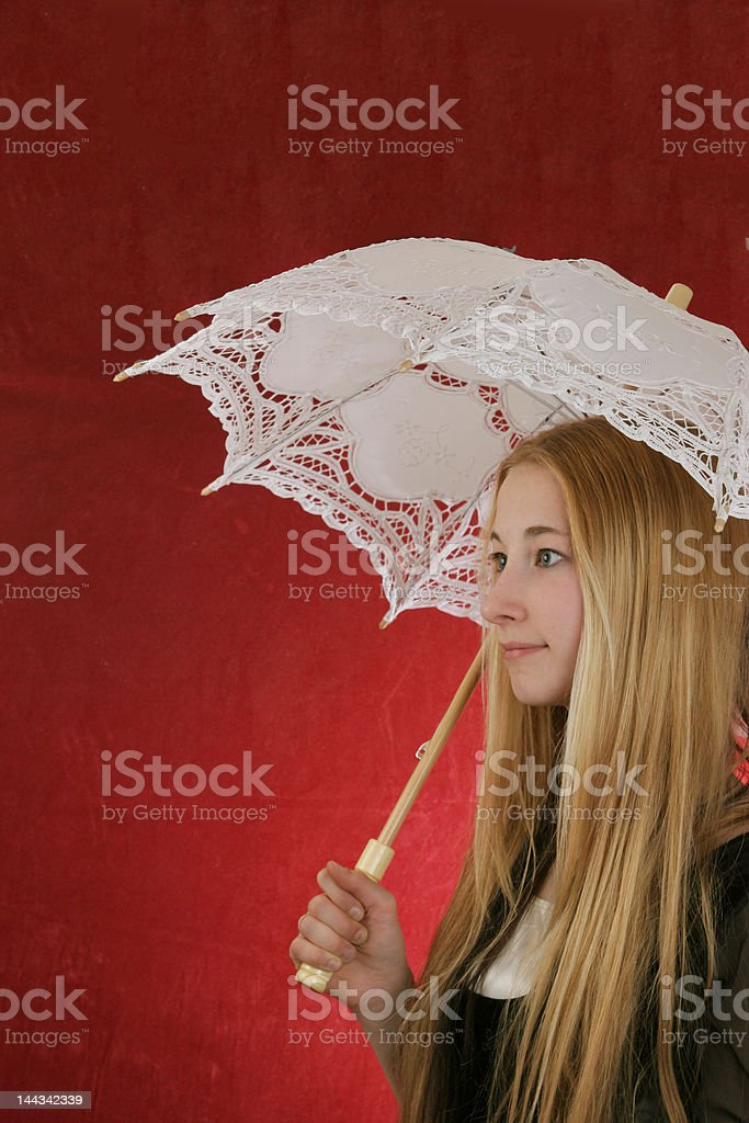 young lady with umbrella royalty-free stock photo