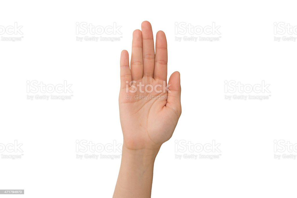 Young Lady's Right Hand Palm stock photo