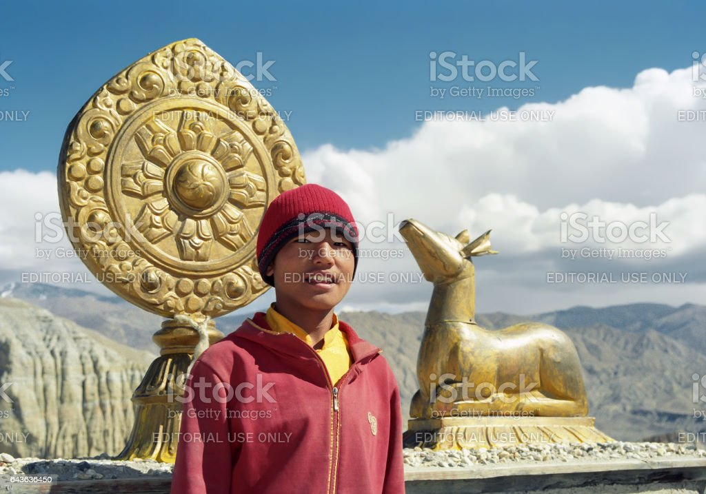 Young lama on the roof of Buddhist monastery. stock photo