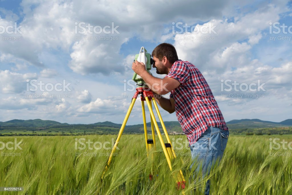 Young land surveyor in a wheat field stock photo