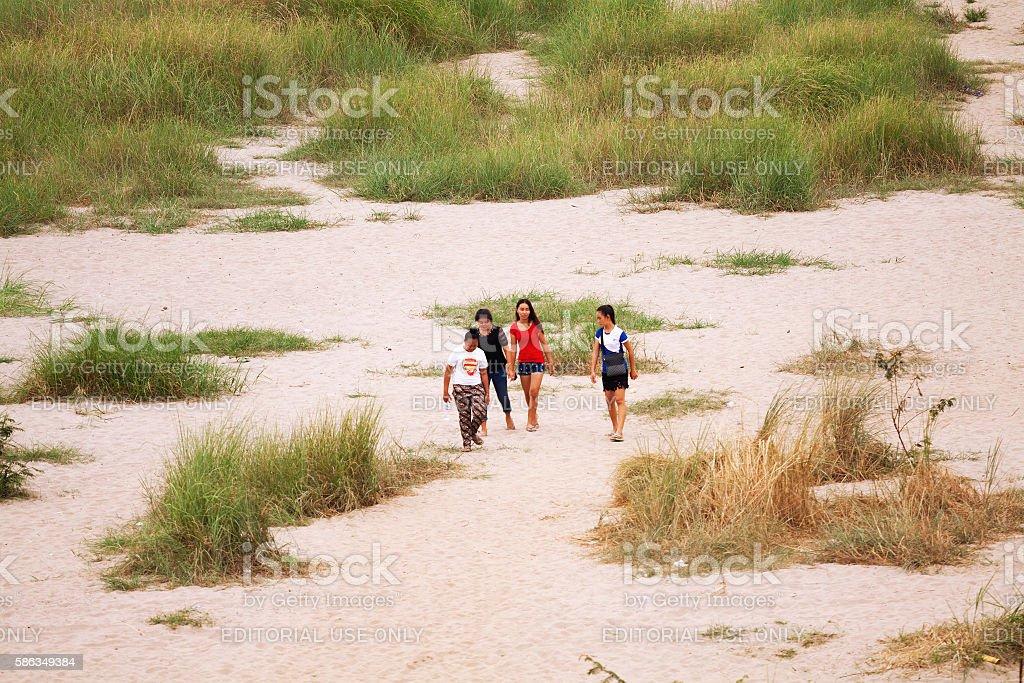 Young laos girls at Mekong stock photo