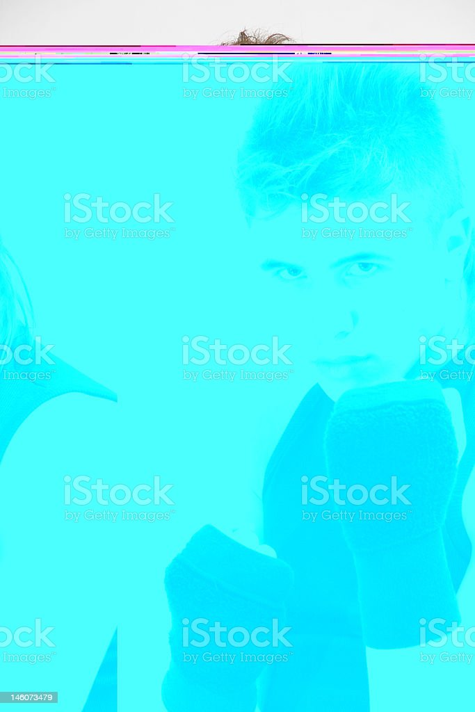 Young Latin boxer in challenging attitude. royalty-free stock photo