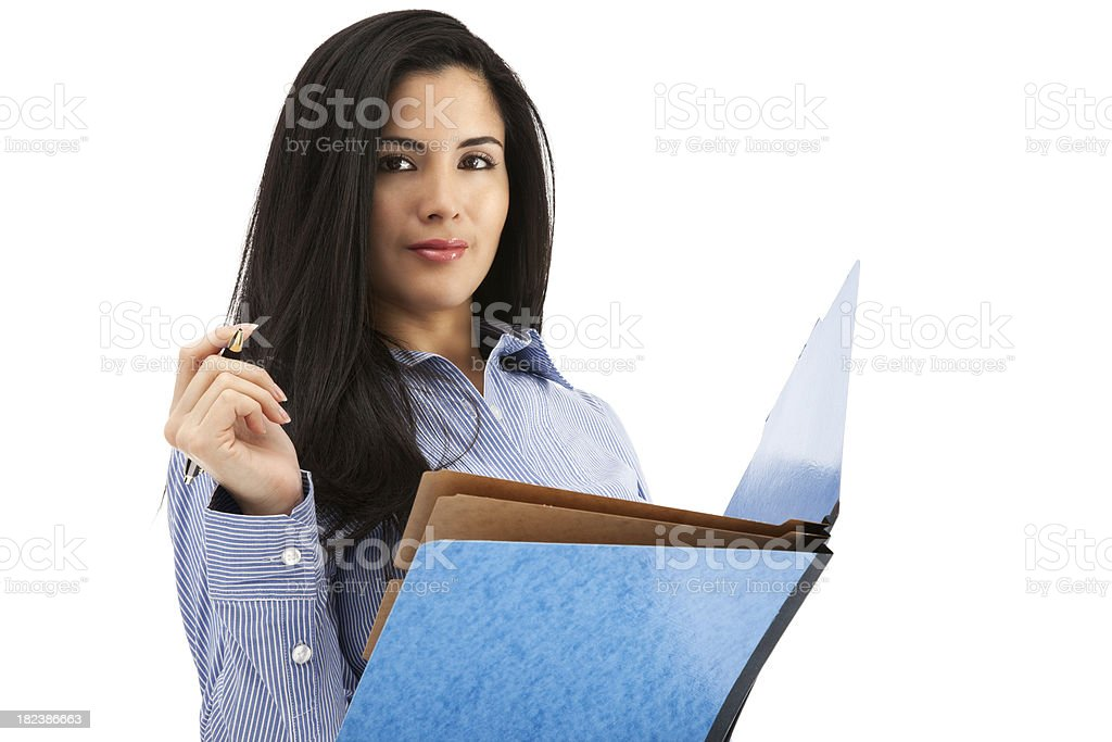 Young Latin Businesswoman with Blue Folder royalty-free stock photo
