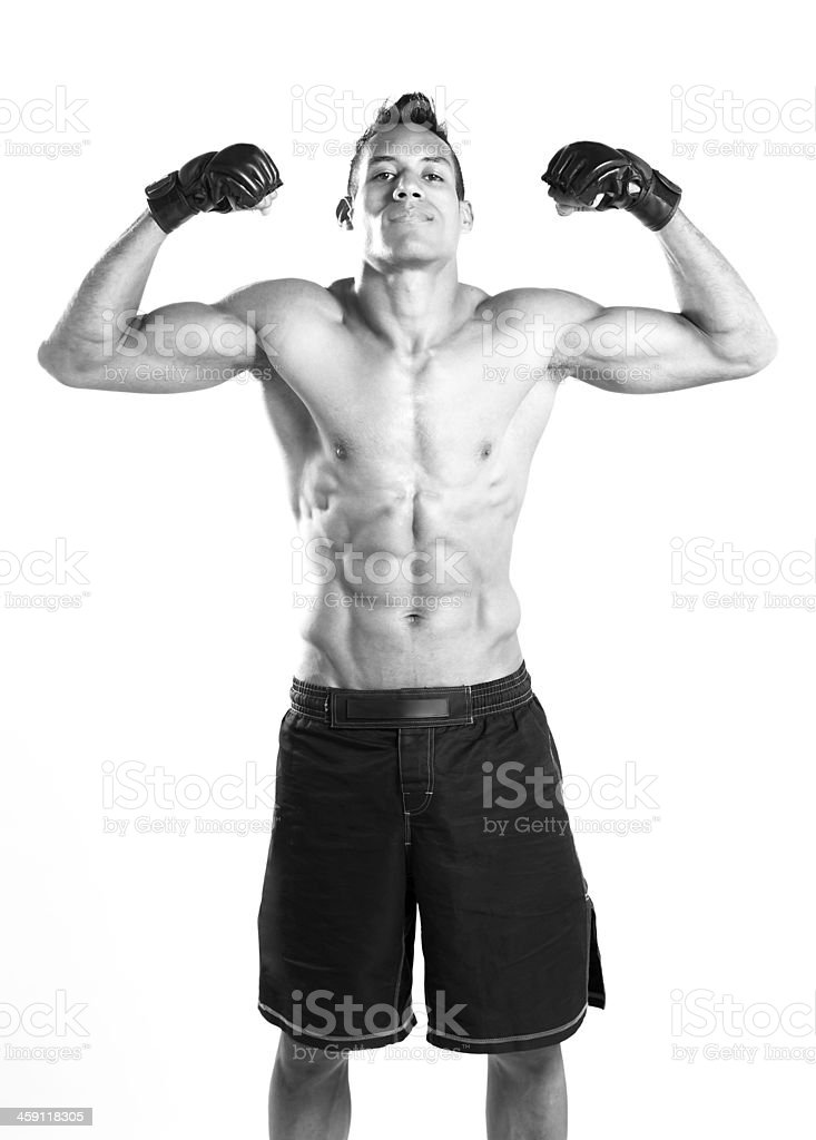 Young latin fighter of mma stock photo