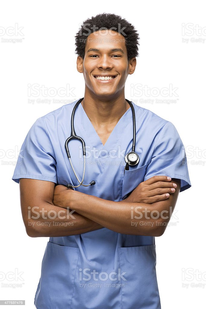 Young latin surgeon with arms crossed stock photo