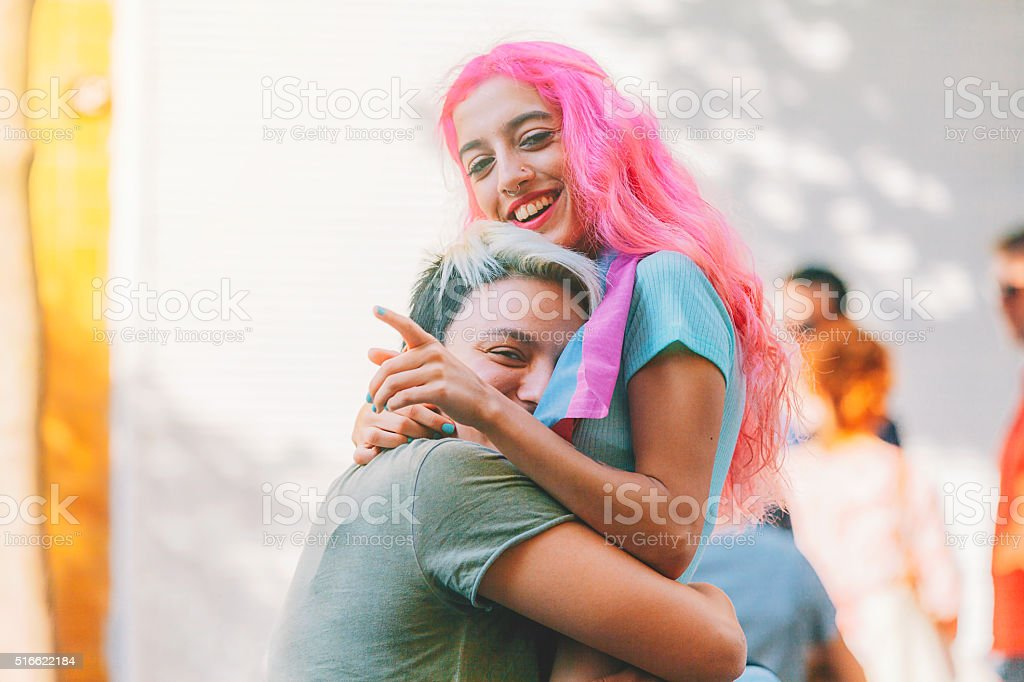 Young lesbian couple during the protest stock photo