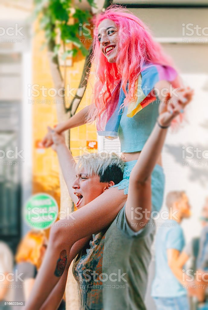 Young lesbian couple enjoying the protest stock photo