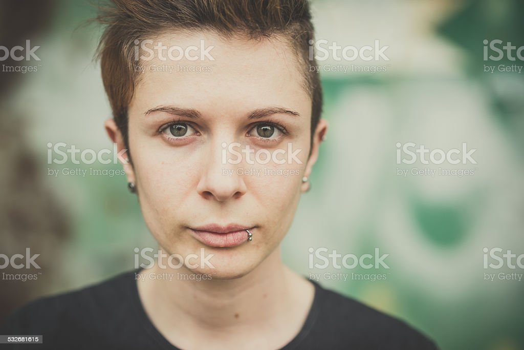 young lesbian stylish hair style woman stock photo