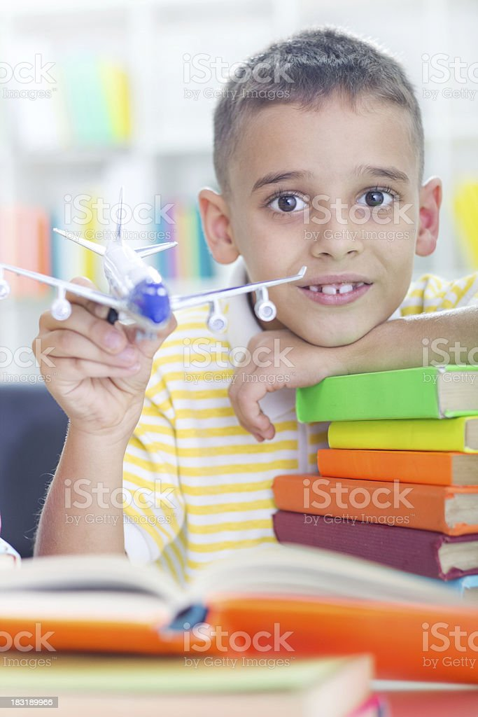 young little boy wants to be a pilot royalty-free stock photo