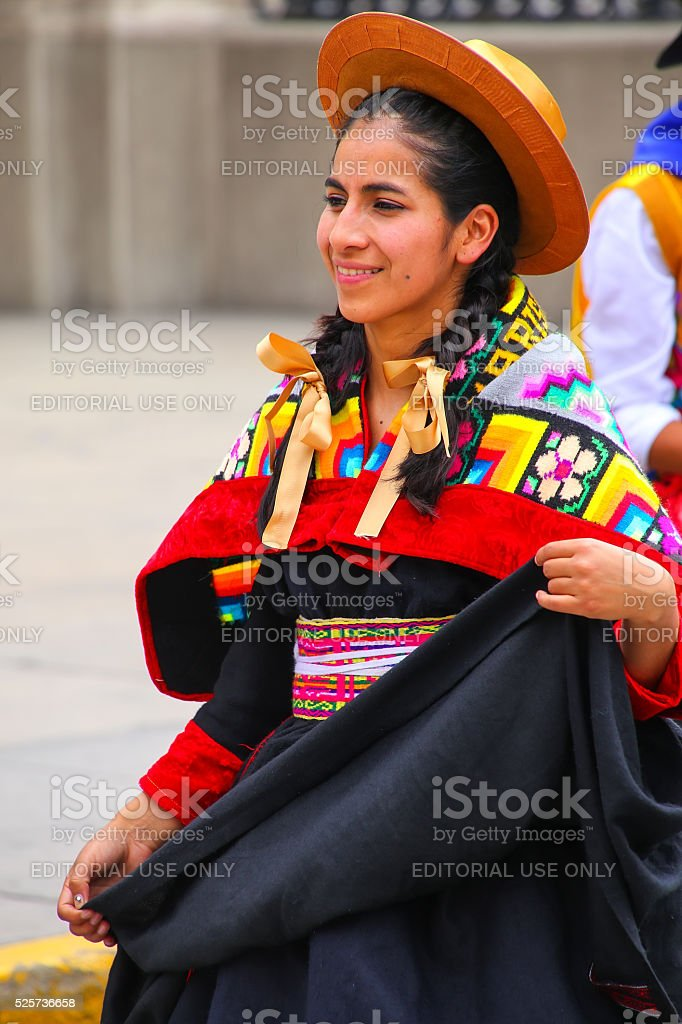 Young local woman performing in Lima, Peru stock photo