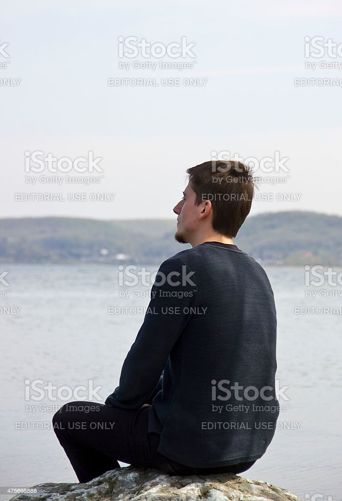 young lonely stock photo
