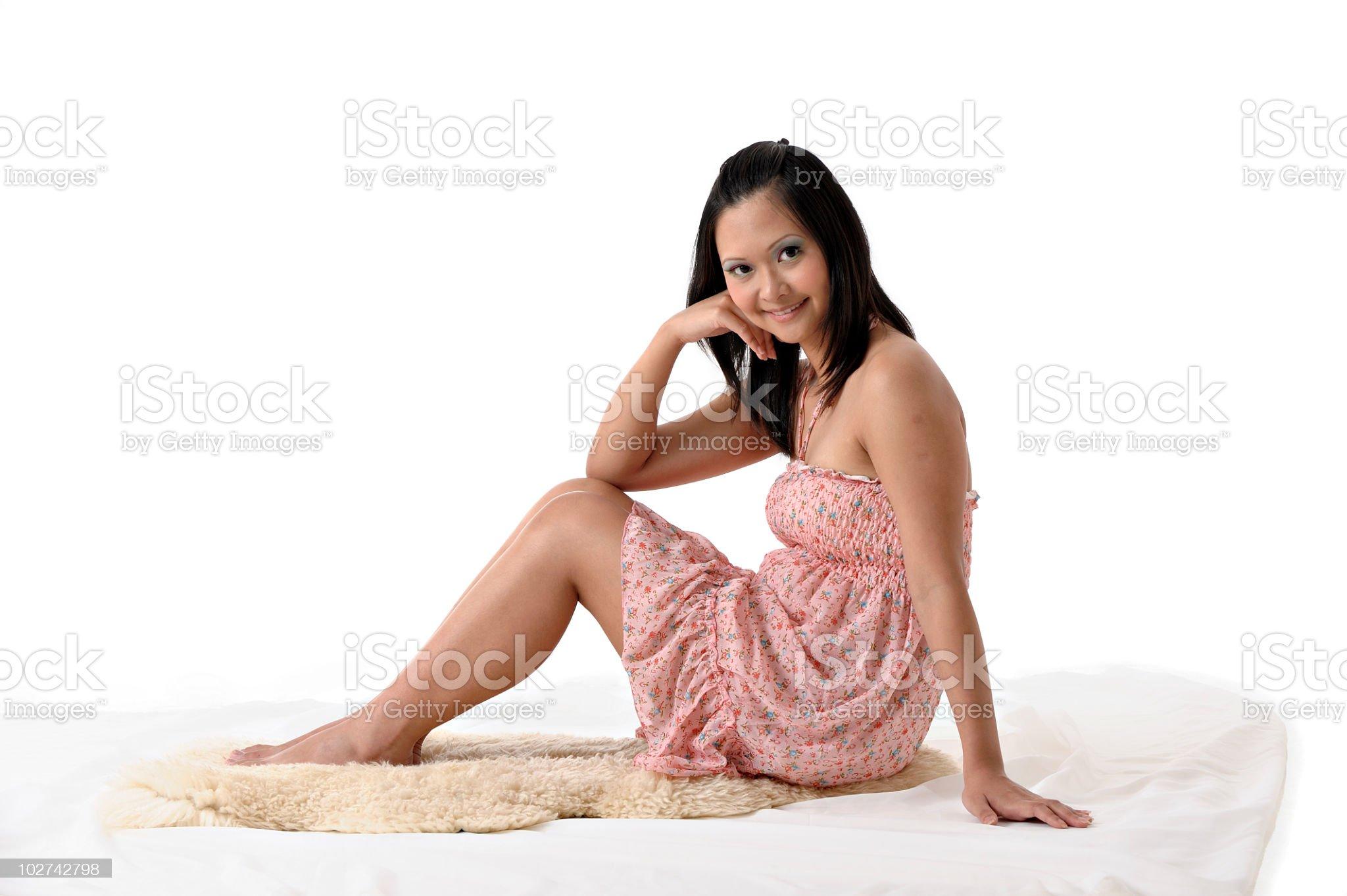 Young long hair Asian Chinese woman royalty-free stock photo