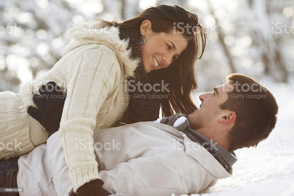 Young love couple enjoying in a romantic winter day. royalty-free stock photo