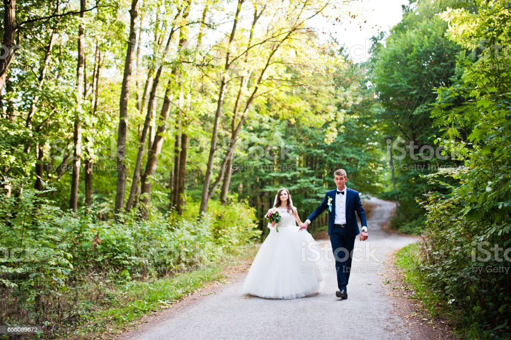 Young lovely wedding couple at the wood stock photo