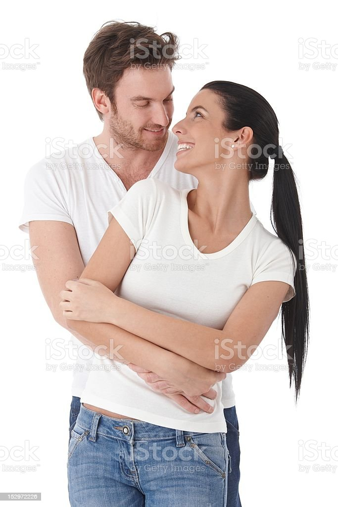 Young loving couple smiling happily royalty-free stock photo