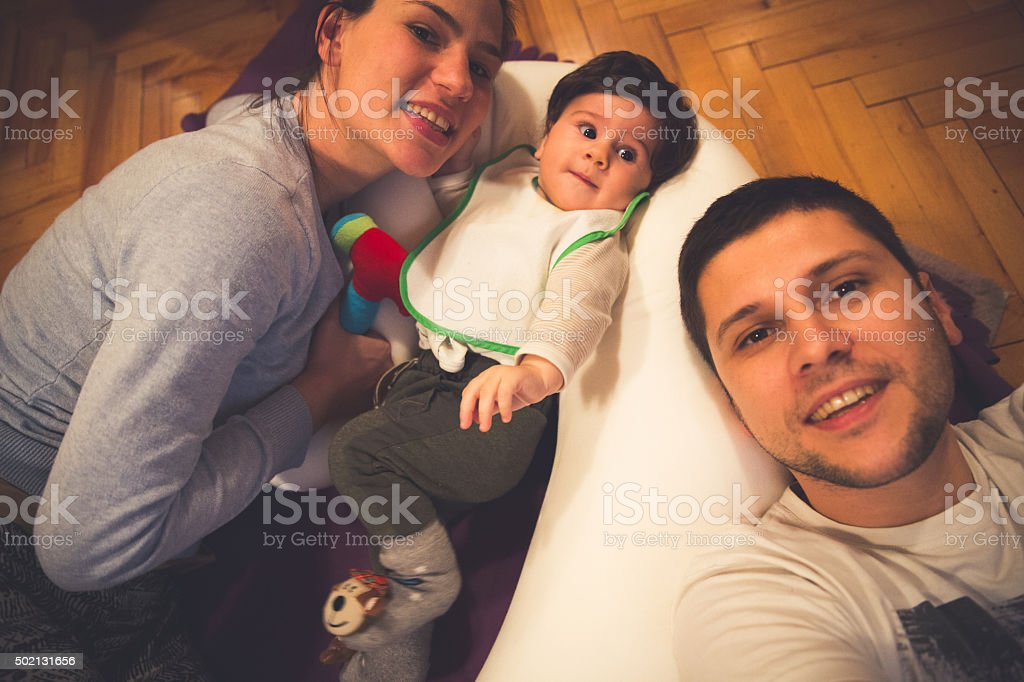 Young loving family stock photo