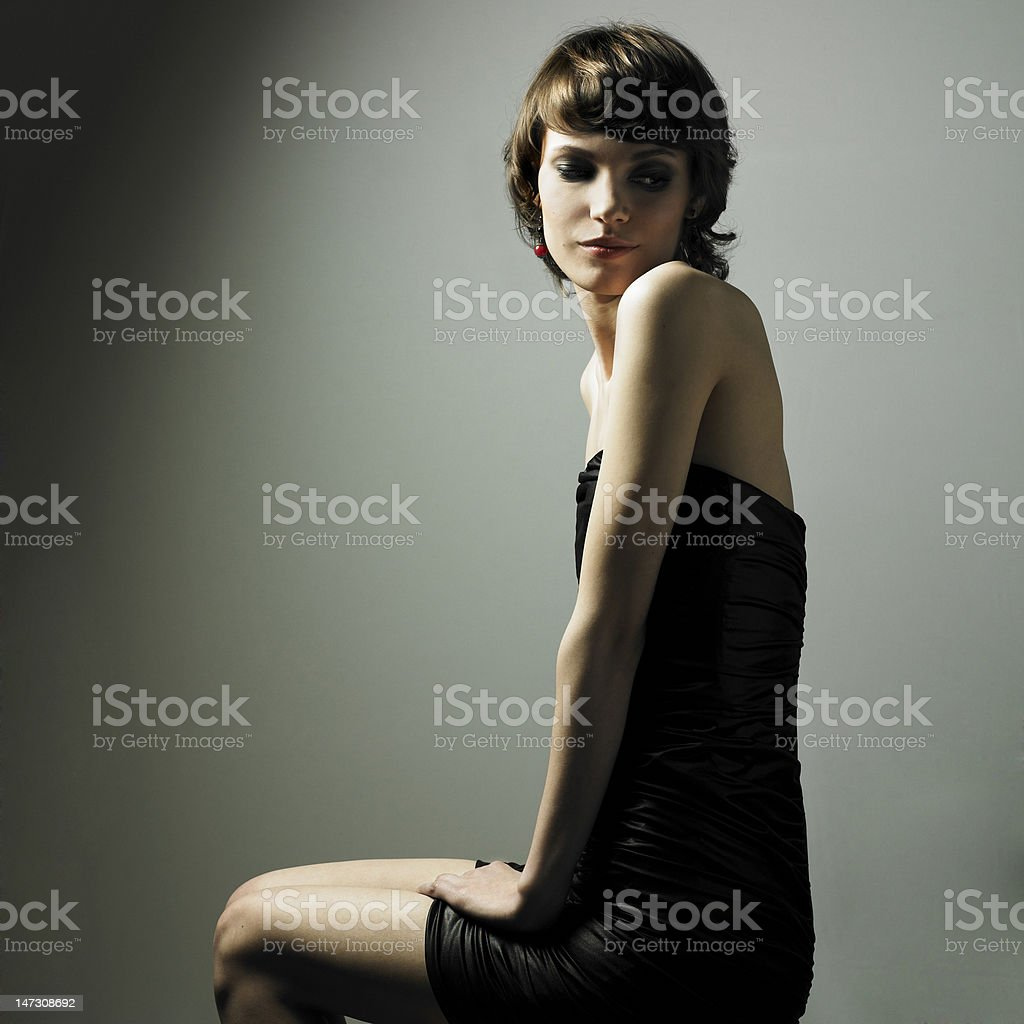 Young magnificent lady in elegant dress royalty-free stock photo
