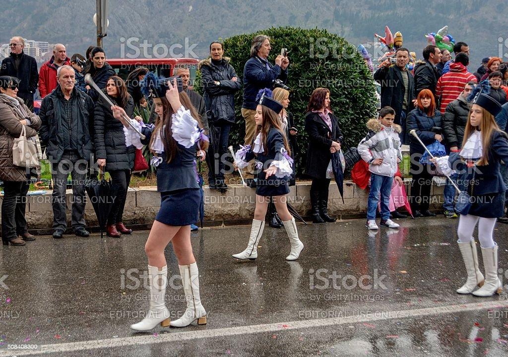 Młody mażoretki w karnawałowe. zbiór zdjęć royalty-free