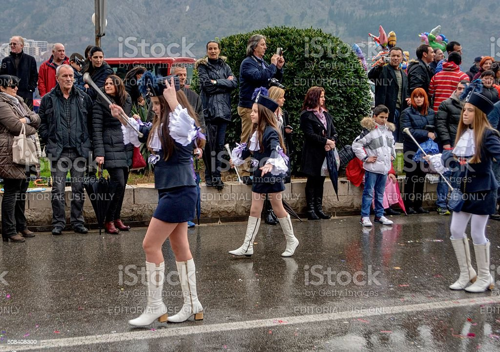 Young majorettes in carnival. stock photo