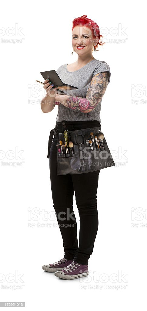 young make-up artist stock photo