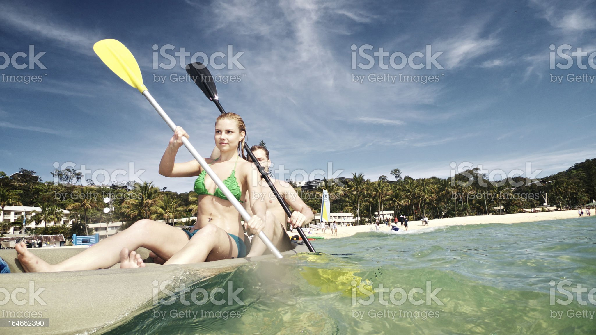 Young Male and Female Kayaking royalty-free stock photo