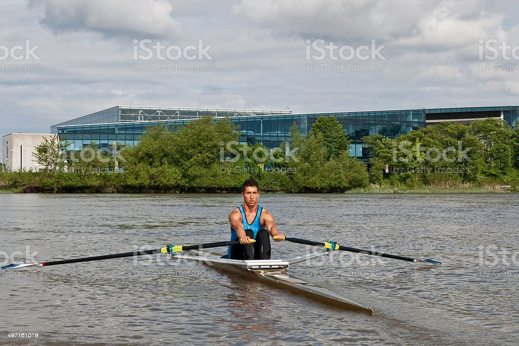 Young Man Rowing a Single Scull on the Fraser River royalty-free stock photo