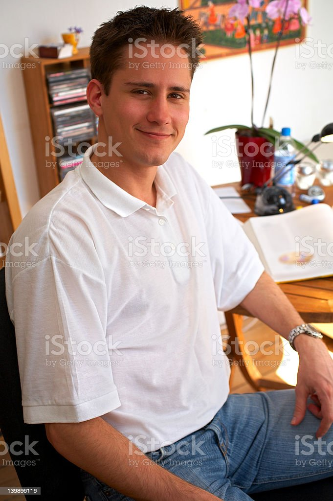 Young Male College Student Smiling royalty-free stock photo