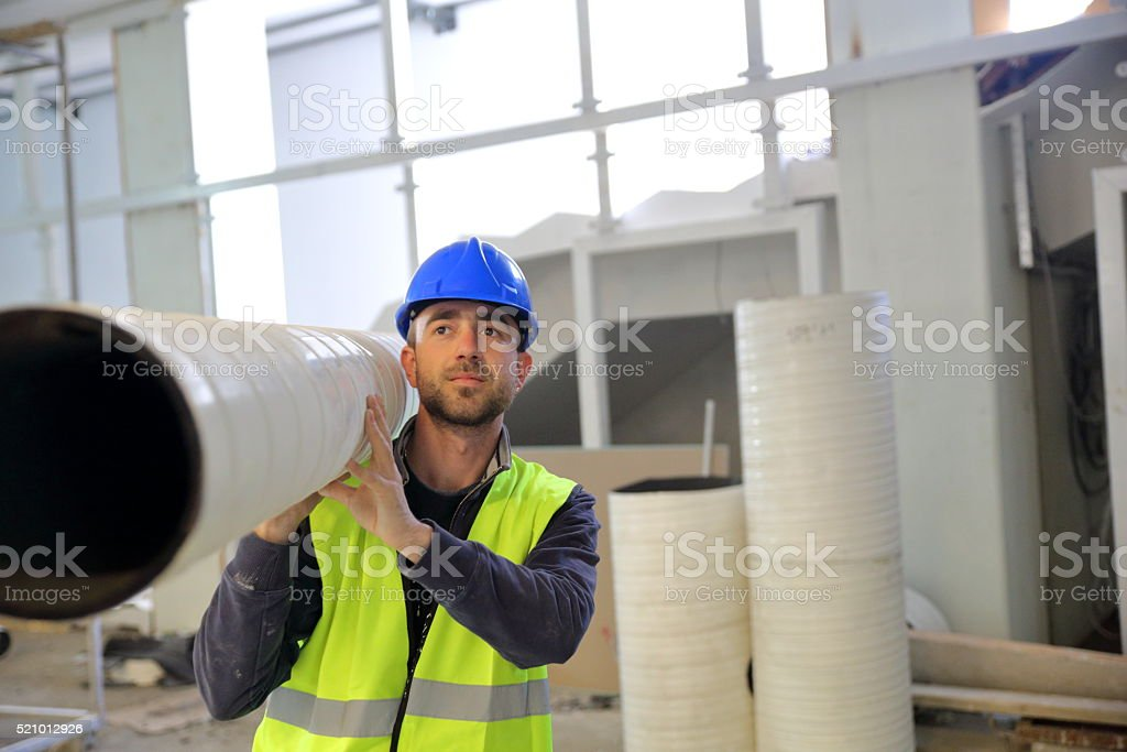 Young male construction worker stock photo