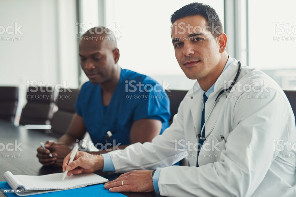 Young male doctors stock photo