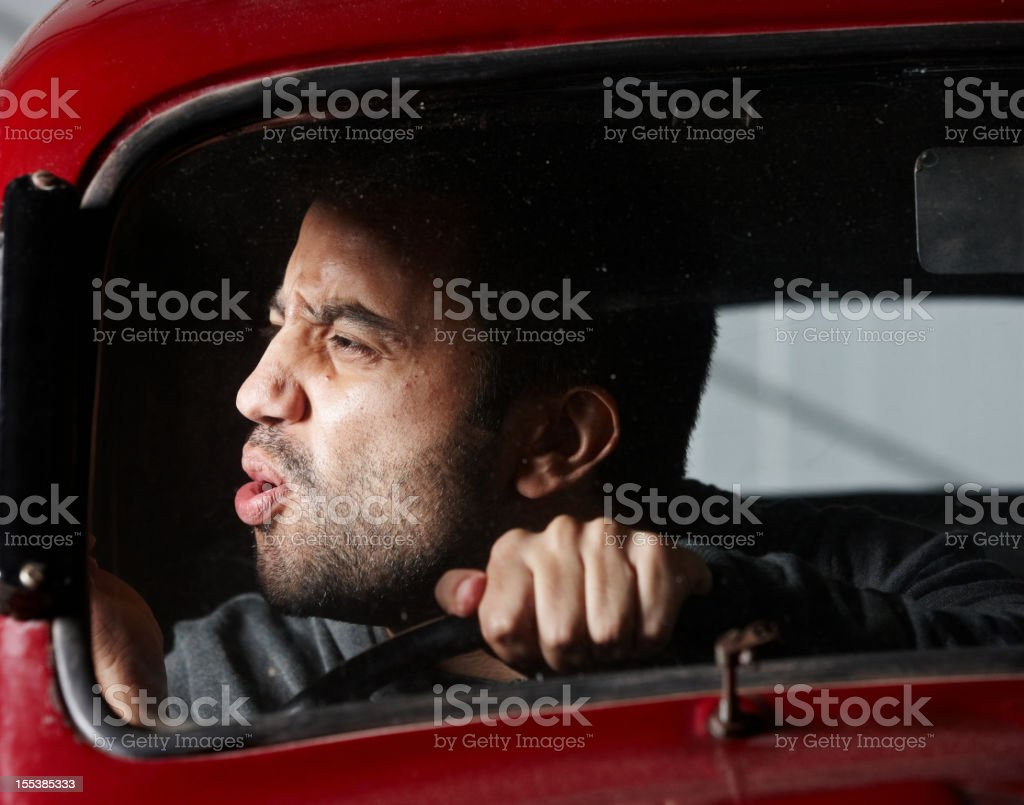 Young male driver road rage royalty-free stock photo