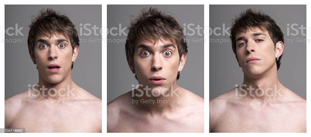 Young male expressions from surprise to incredulous on grey background royalty-free stock photo