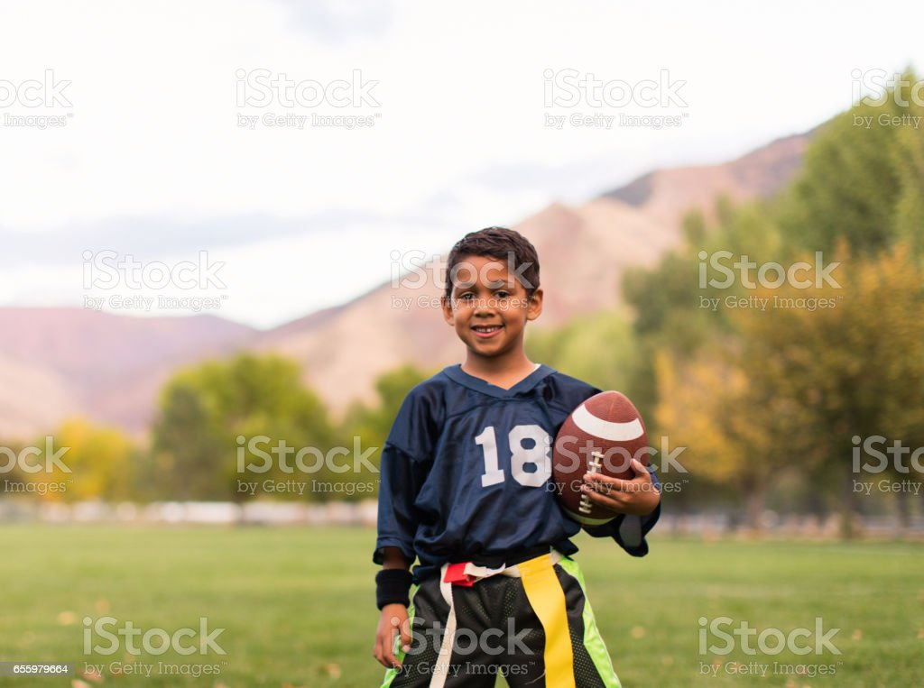 Young Male Flag Football Player stock photo